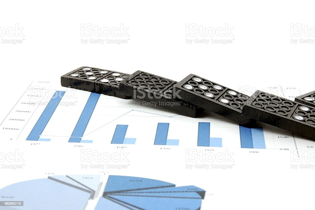 dominoes on chart - Royalty-free Banking Stock Photo