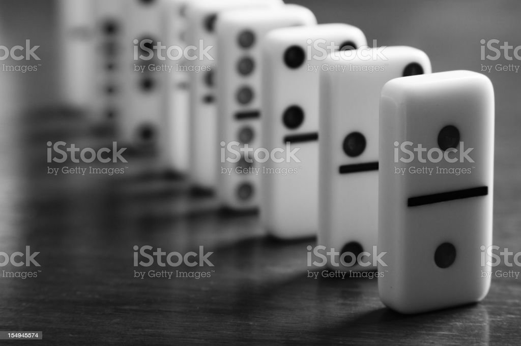 Dominoes Stacked in Line stock photo