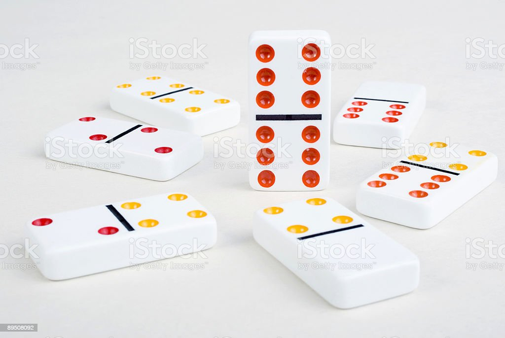 Dominoes Standing Out From The Crowd royalty-free stock photo