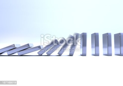 metallic dominos crashing...