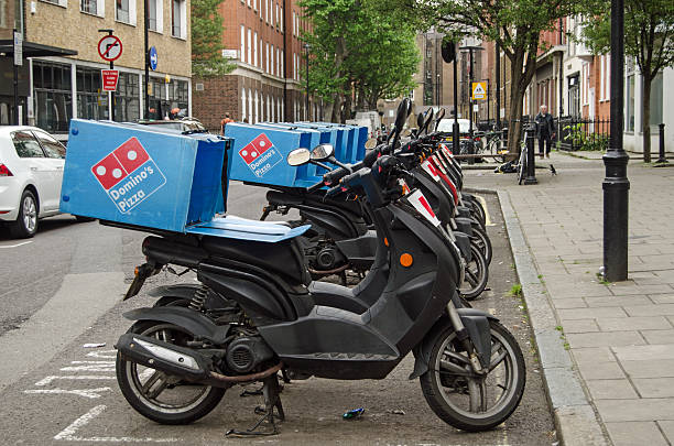 Domino's Pizza Mopeds, London stock photo