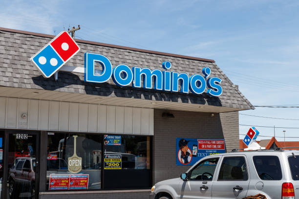 Domino's Pizza Restaurant. Domino's delivers more than 1 million pizzas a day V stock photo