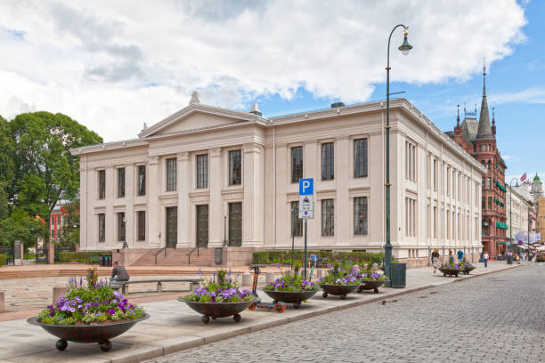 Domus Academica of the faculty of law in Oslo Oslo, Norway - June 26 2019: the Domus Academica of the faculty of law, includes the Old Ceremonial Hall, lecture halls, offices for the administration, and IT rooms. university of oslo stock pictures, royalty-free photos & images