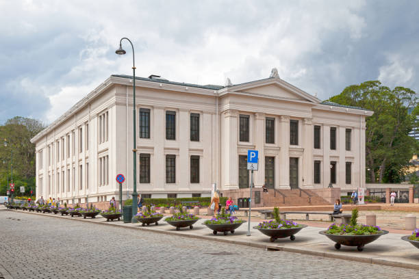Domus Bibliotheca of the faculty of law in Oslo Oslo, Norway - June 26 2019: the Domus Bibliotheca of the faculty of law, includes the Law Library, IT rooms, lecture halls and offices for professors. university of oslo stock pictures, royalty-free photos & images