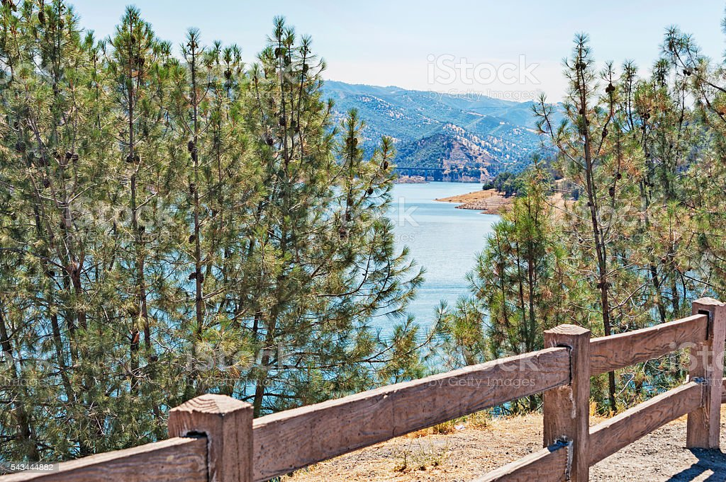 Don Pedro Lake from above with Fence and Bridge stock photo