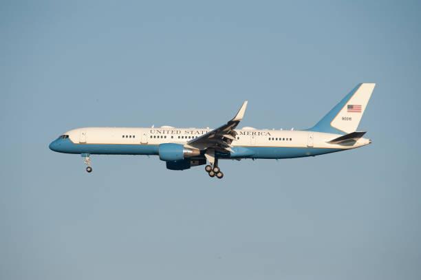 Donald Trump arrived in Helsinki Summit 2018 stock photo