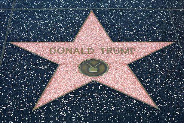 donald trump hollywood star - trump stockfoto's en -beelden