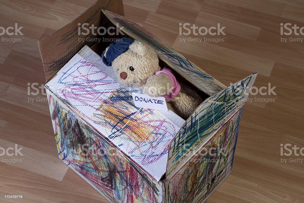 donate box with teddy bear royalty-free stock photo