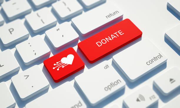 donate button on computer keyboard - cassetta per le offerte foto e immagini stock