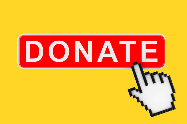 donate button with pixel icon hand. 3d rendering - contributor stock pictures, royalty-free photos & images