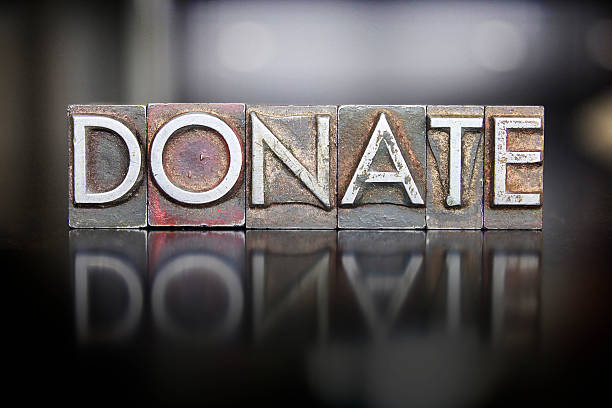 Donate Letterpress stock photo