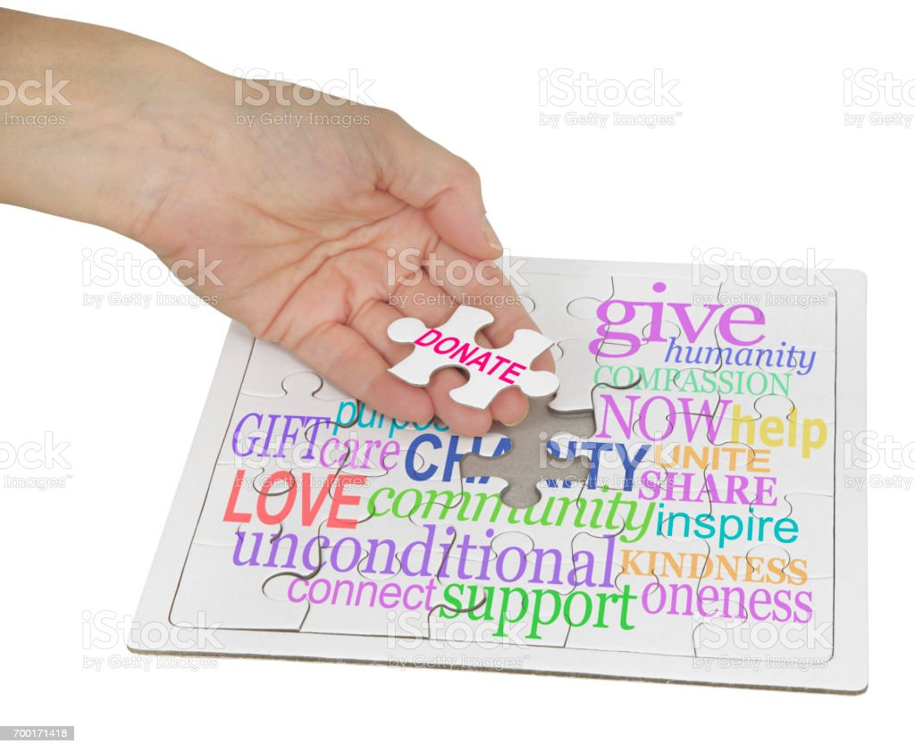 Donate to Charity Puzzle stock photo
