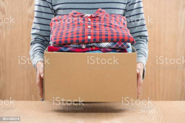 Donation box for poor with clothing in male hands picture id904466316?b=1&k=6&m=904466316&s=612x612&h=2sujrwrif0jzatv1fndpskwz0j0d2r51qvkuxcltnkm=