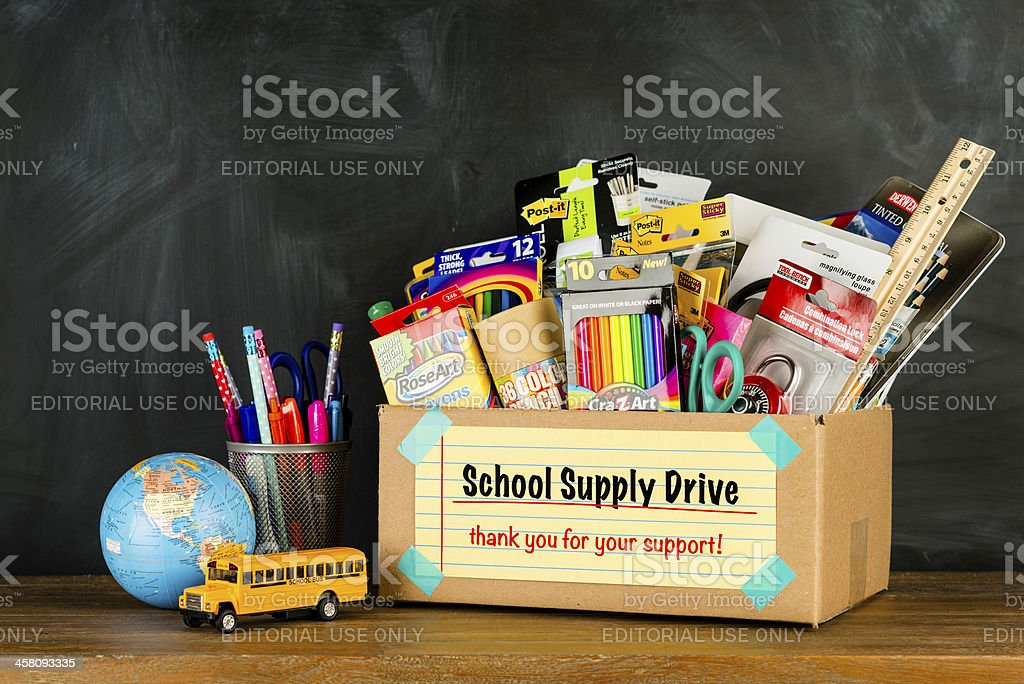 Donation Box for School Supplies stock photo