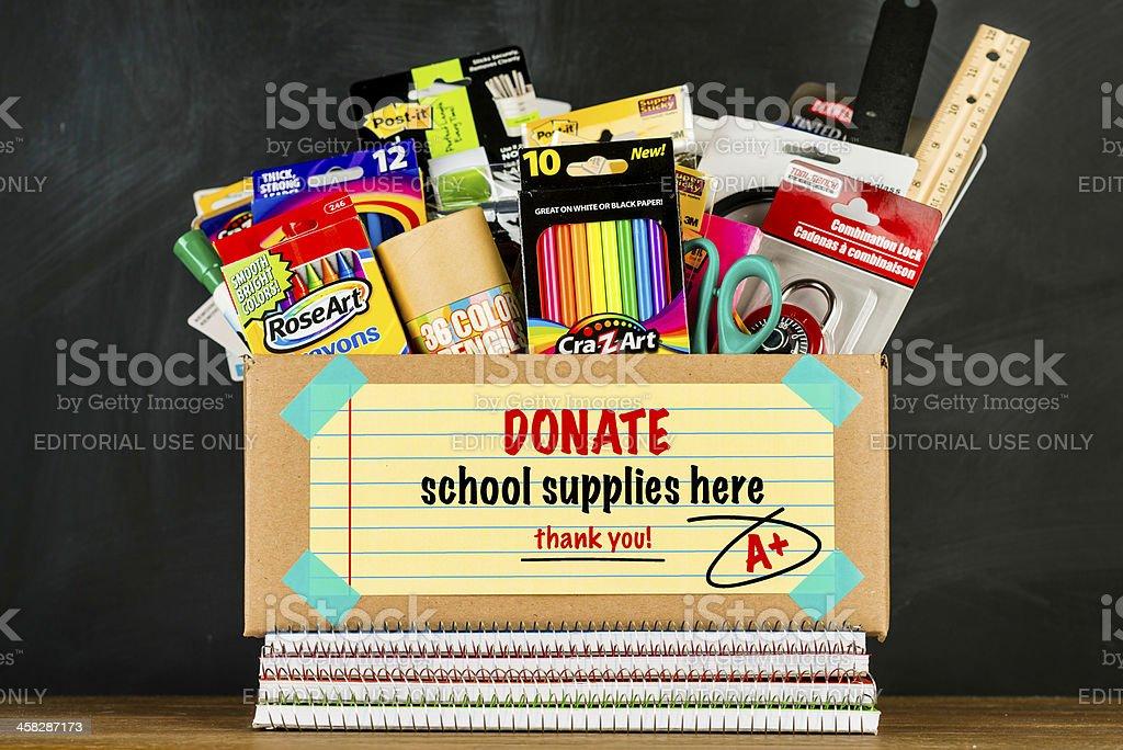Donation Box for School Supplies stock photo