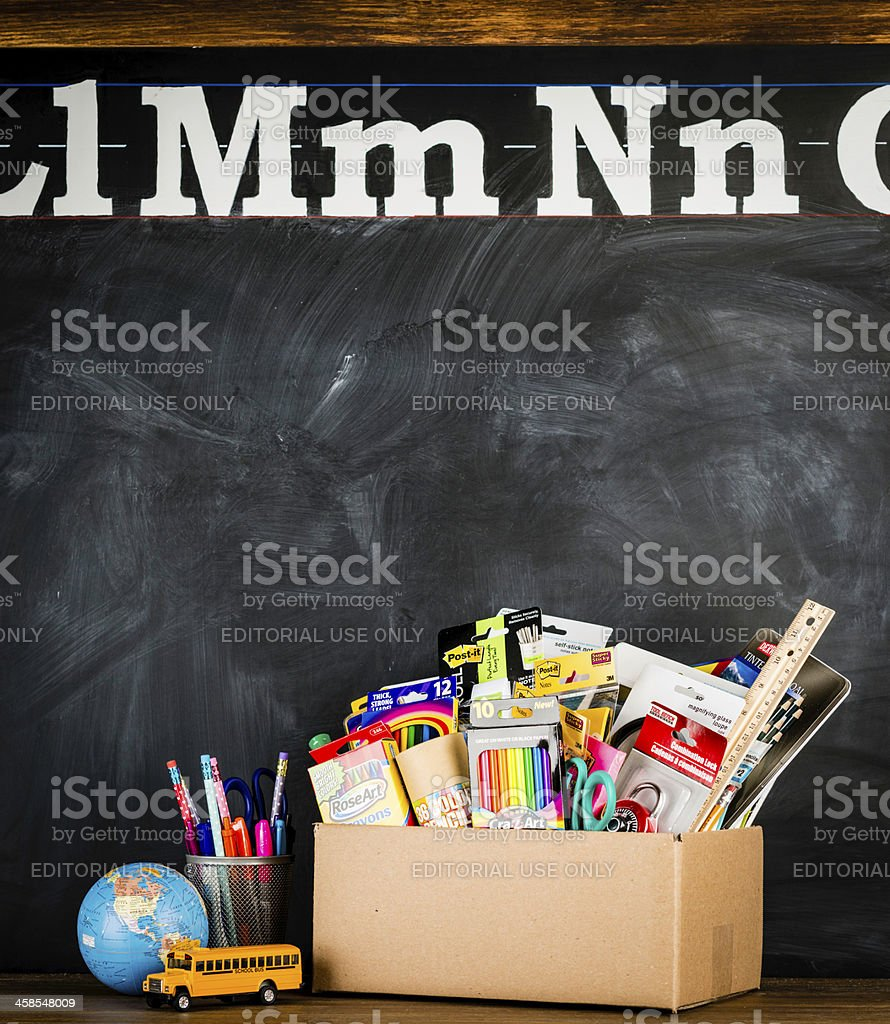 Donation Box for School Supplies royalty-free stock photo
