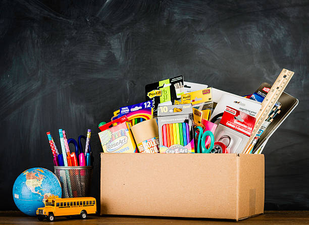 donation box for school supplies - school supplies stock pictures, royalty-free photos & images