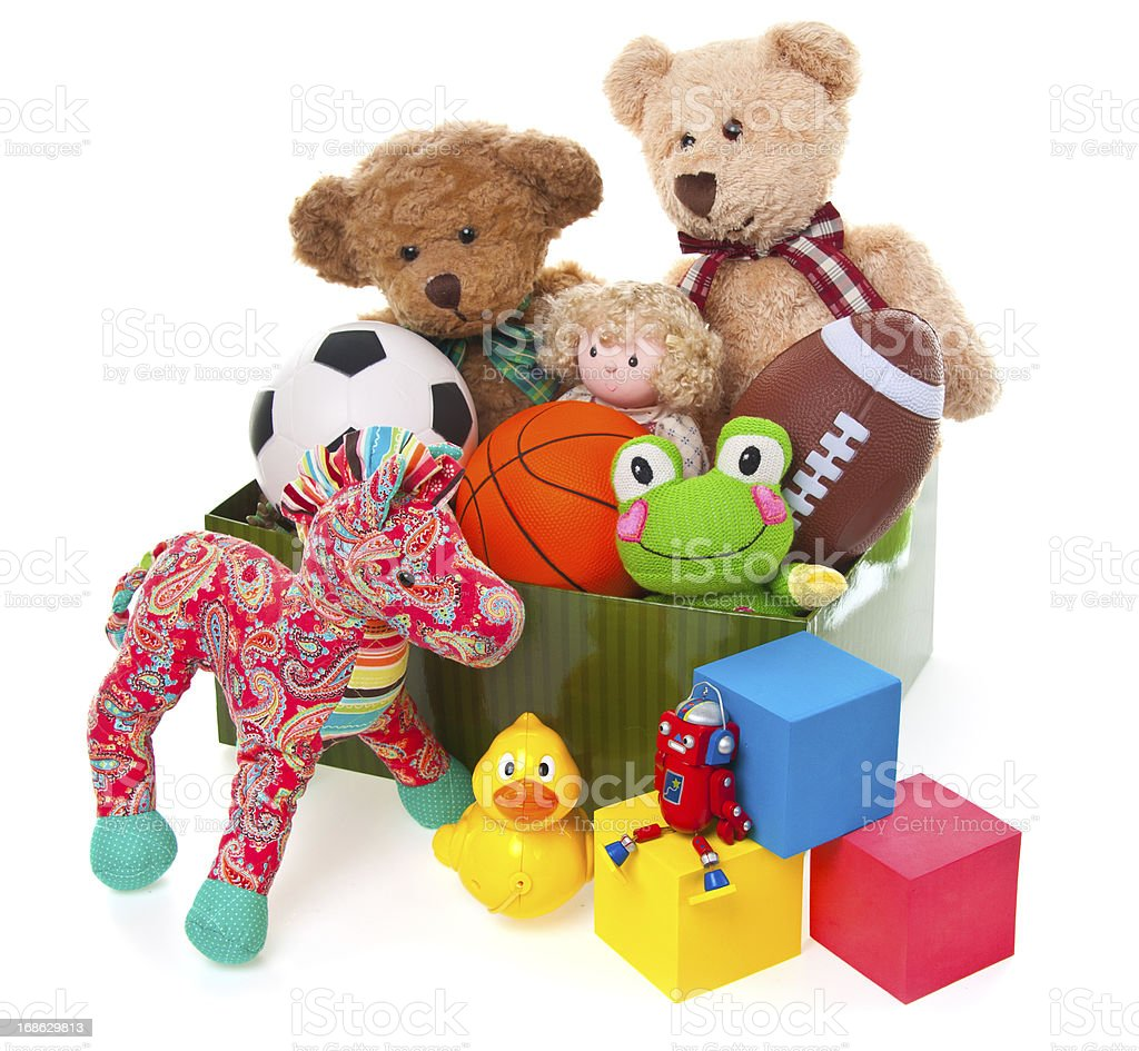 Donation Box Full of Toys and Stuffed Animals stock photo