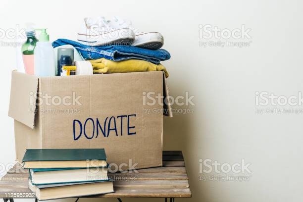 Donation box with clothes and hygiene products copy space picture id1125952932?b=1&k=6&m=1125952932&s=612x612&h=v27lgm9uiru8l6koe oh73nkcviz74rbfyk g5zorpc=