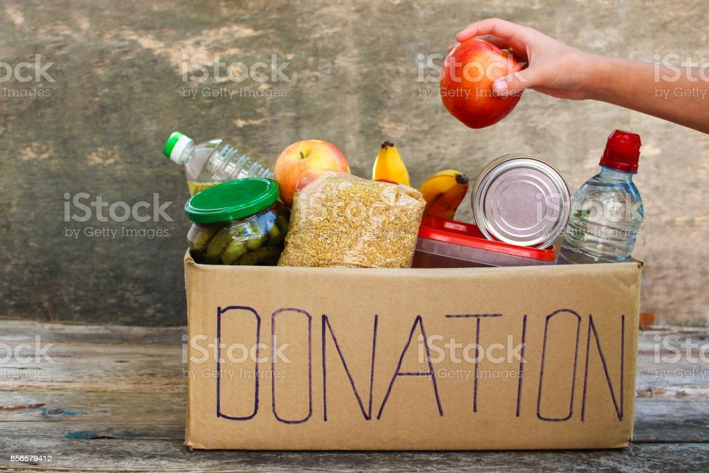 Donation box with food. stock photo
