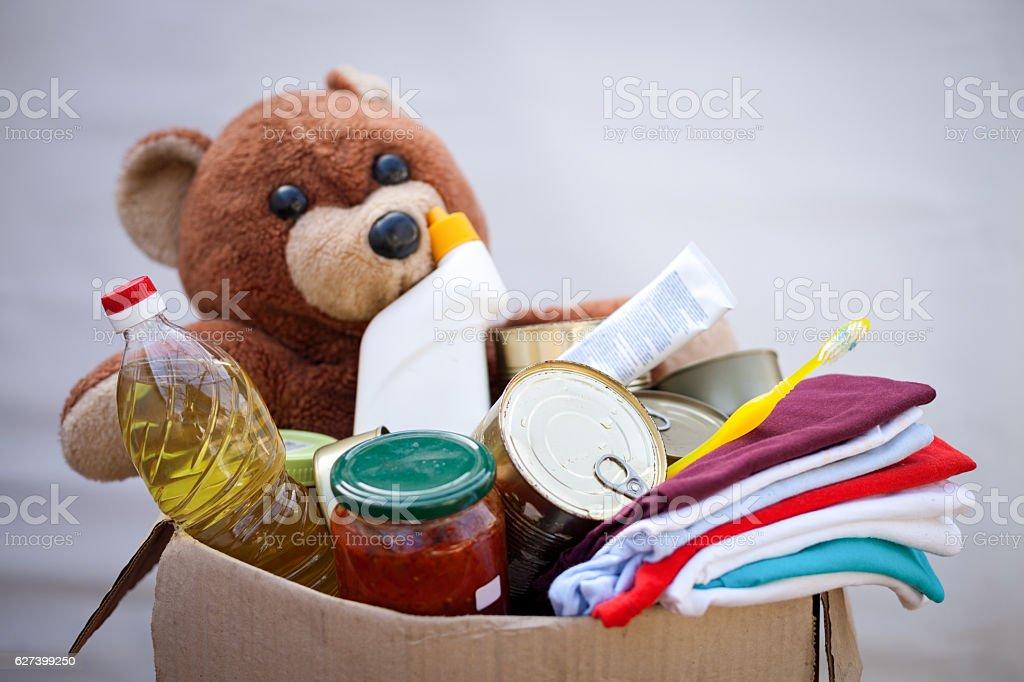Donation box with stuff stock photo