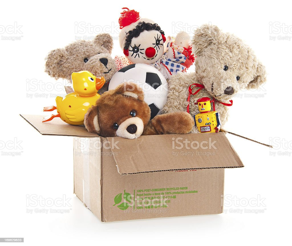 Donation Box with Teddy Bear, Robots and Toys stock photo