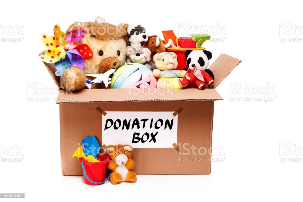 Donatie Box Met Speelgoed Stockfoto en meer beelden van Bal