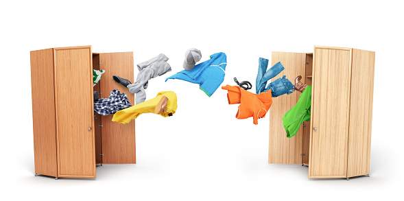 Donation concept. Clothes are flying from one wardrobe to another isolated on white background. 3d illustration.