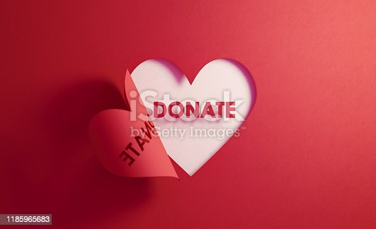 Donate text inside of a red folding heart shape on white background. Horizontal composition with  copy space. Donation concept.