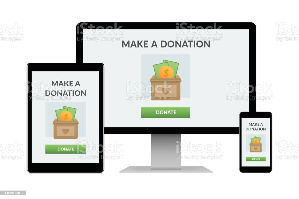 Donation concept on electronic devices isolated on white background Desktop computer, tablet and smartphone isolated on white with donation concept on screen. Digital generated devices. Altruism Stock Photo