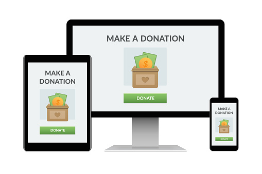 Donation Concept On Electronic Devices Isolated On White Background Stock Photo - Download Image Now