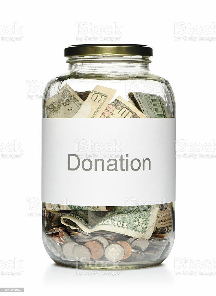 Donation glass jar stock photo