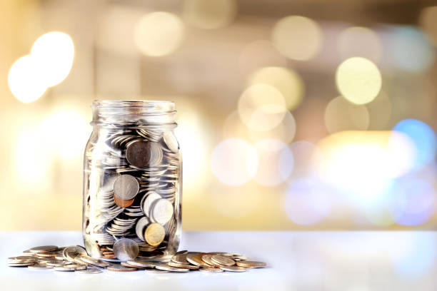 Donation Jar with Copy Space. stock photo