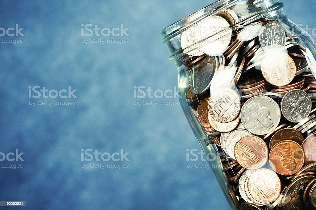 Donation Money Jar with Copy Space stock photo