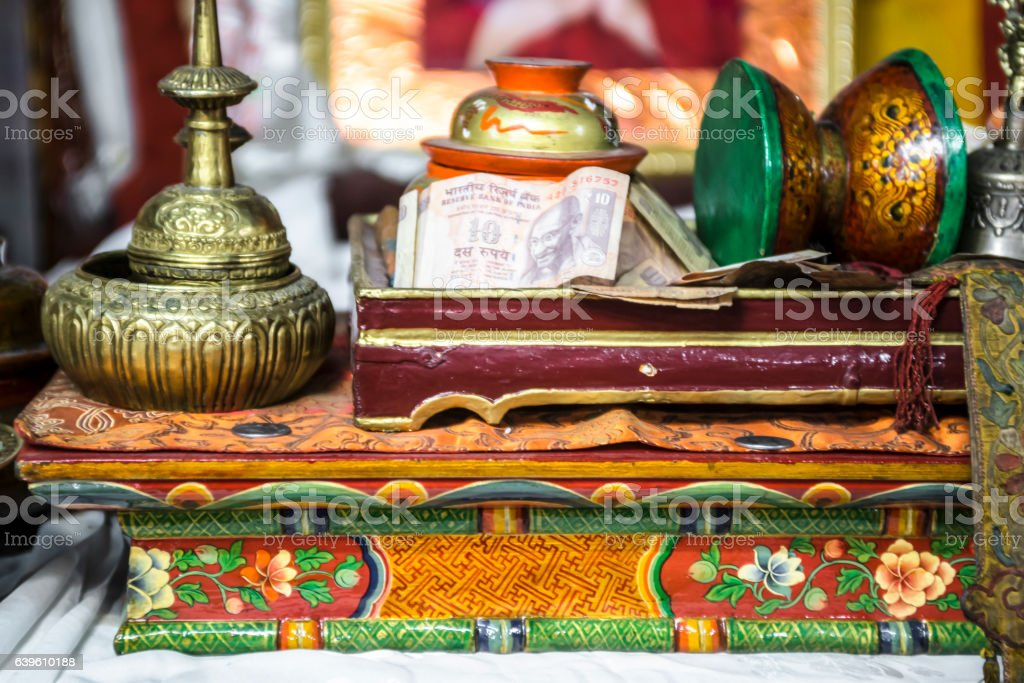 Donations box at Sankar gompa stock photo