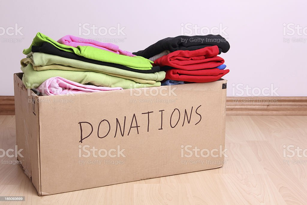 Donations box stock photo