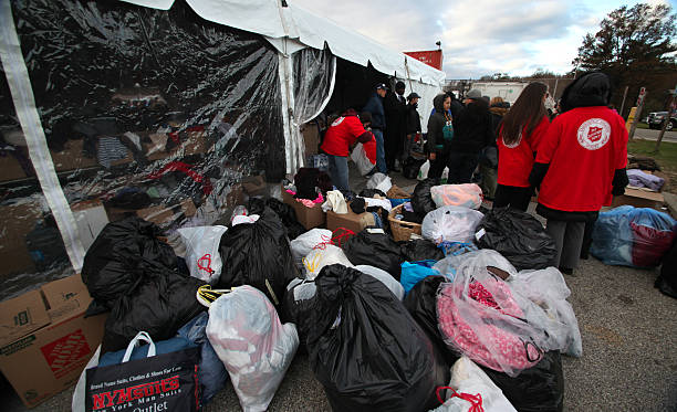 Donations for Sandy victims stock photo