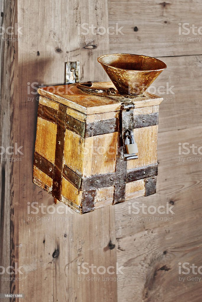 Donations or alms collection box stock photo