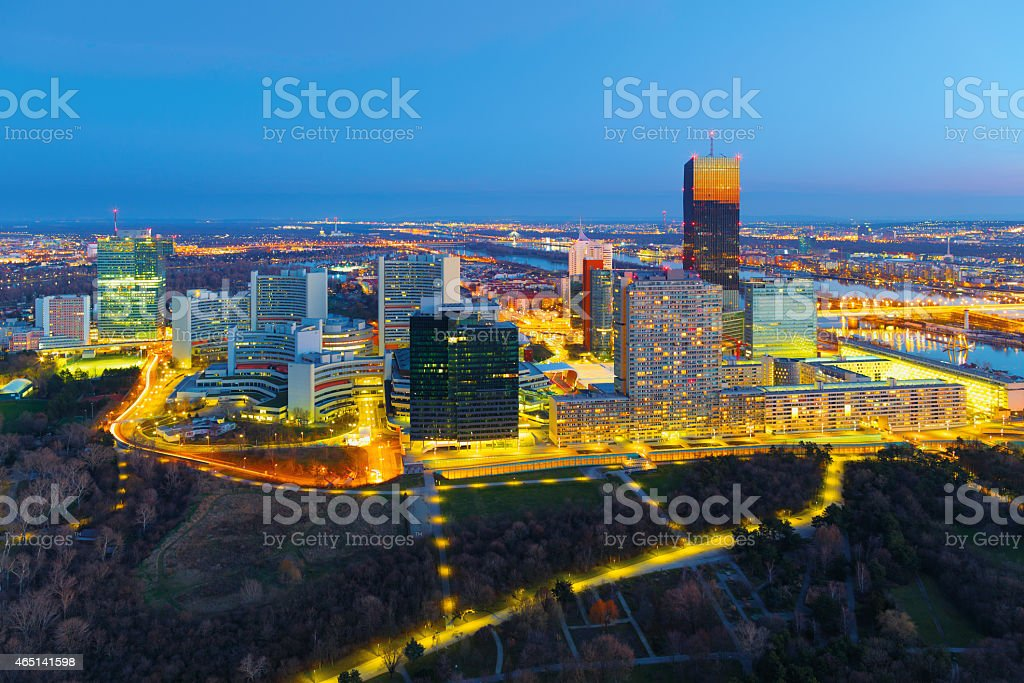 Donau City Blue Hour stock photo