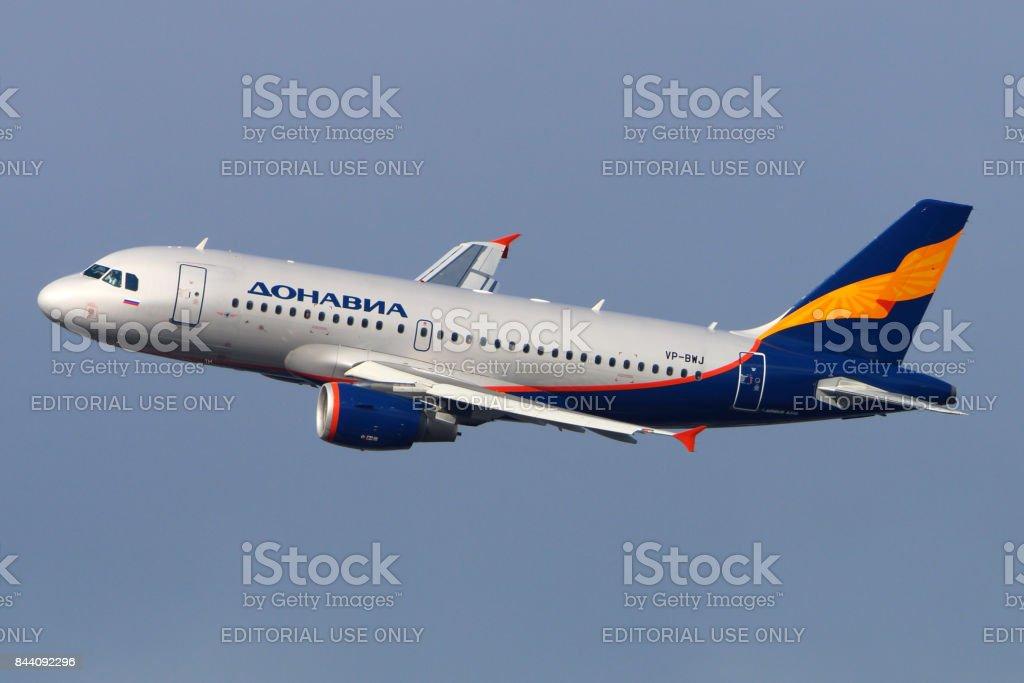 Donavia Airbus A319 VP-BWJ landing at Vnukovo international airport. stock photo