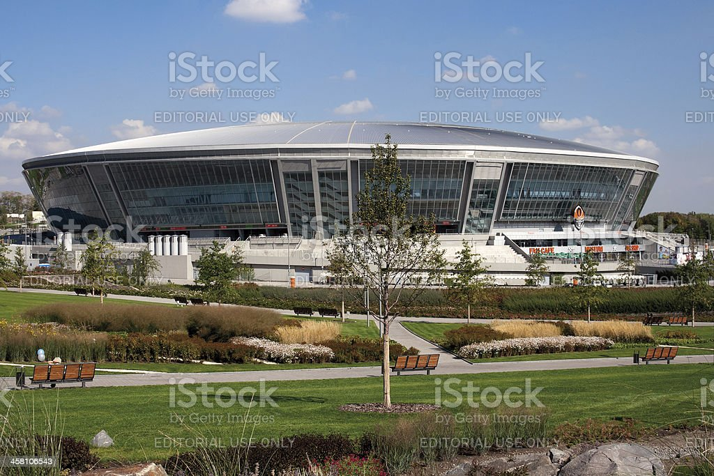 Donbass Arena: ready for EURO 2012 stock photo