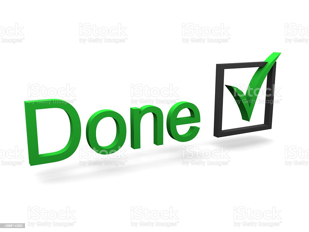 Done text and check mark stock photo