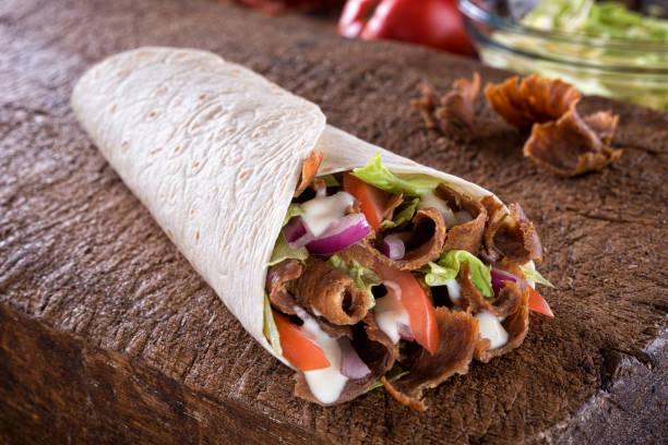 Doner Donair Kebab Wrap stock photo