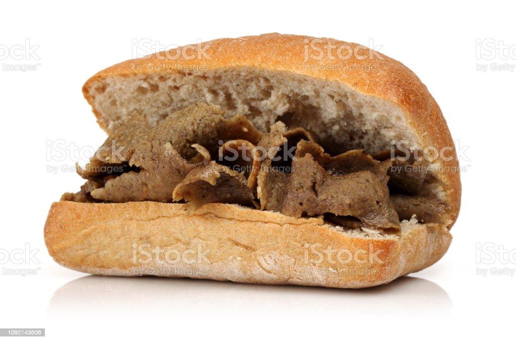 Doner kebab in bread stock photo