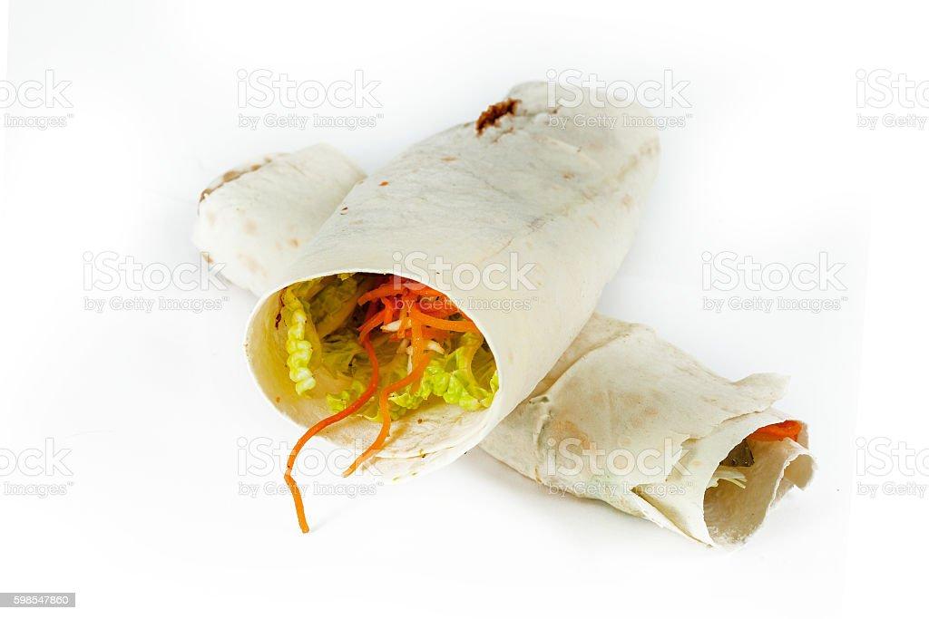 Doner kebab isolated on white background. stock photo