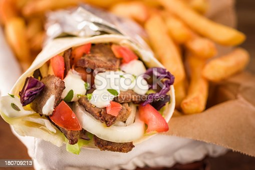 Doner kebab sandwich with french fries