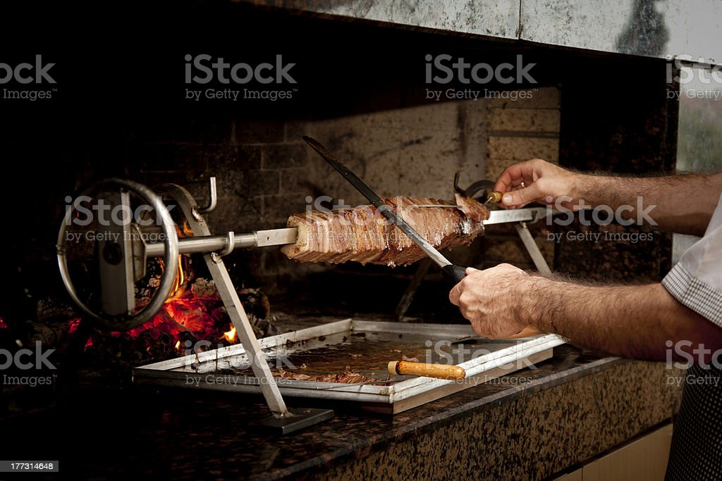 doner kebab with cooker stock photo