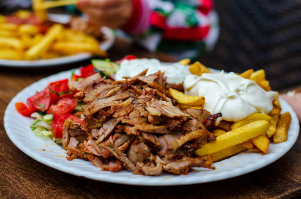 Doner meat with french fries stock photo