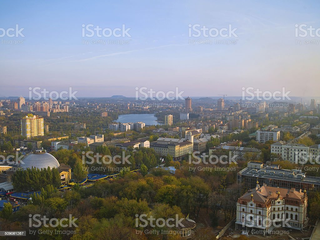 Donetsk from a height stock photo