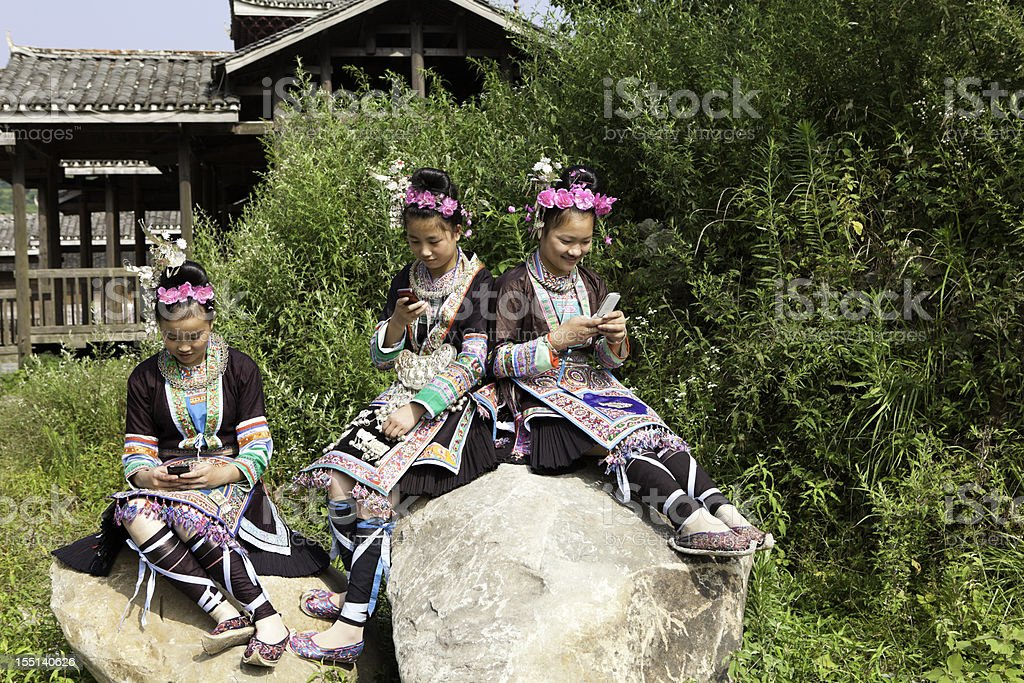 Dong Tribe Girls Text Messaging stock photo